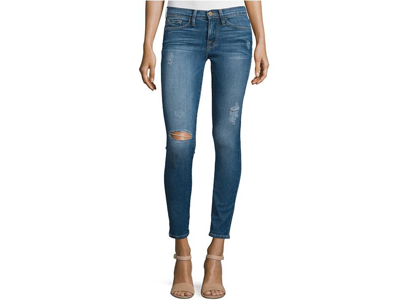 FRAME DENIM Le Skinny De Jeanne Distressed Ankle Jeans