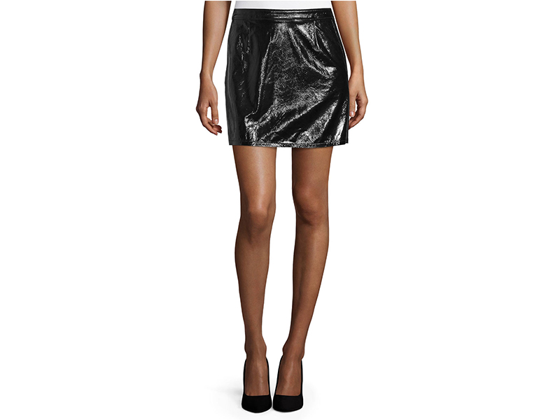 FRAME DENIM Shiny Leather Mini Skirt