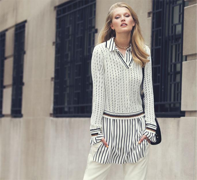 FRAME Le Polo Open-knit Linen-blend Top