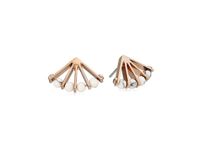 Fossil Fan Rose Stud Earrings