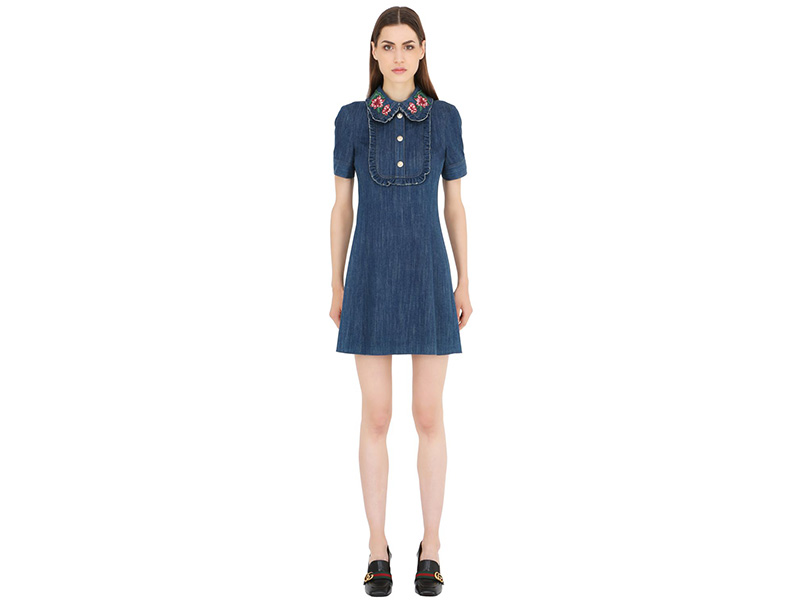 GUCCI Denim Dress With Ruffles & Patches