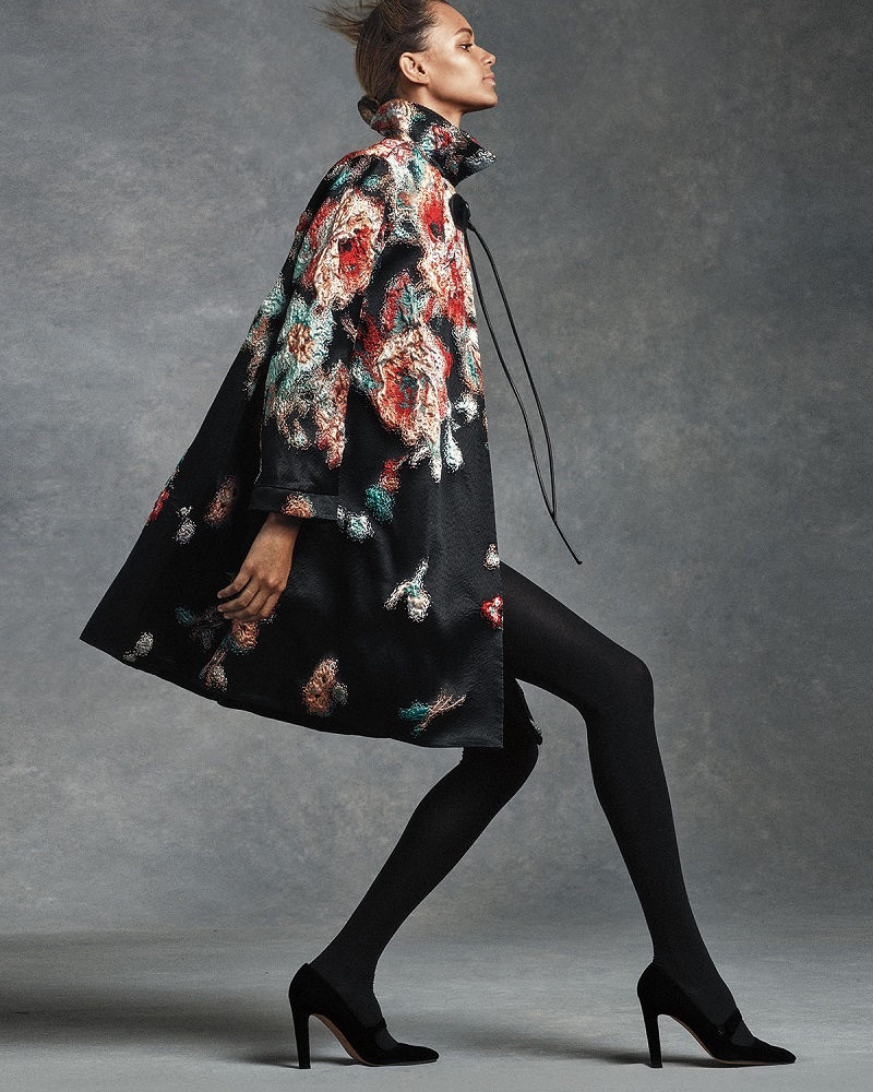 Giorgio Armani Textured Floral-Print A-Line Coat