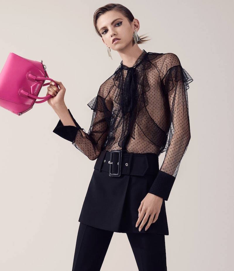 Givenchy Ruffle-Trimmed Tulle Blouse