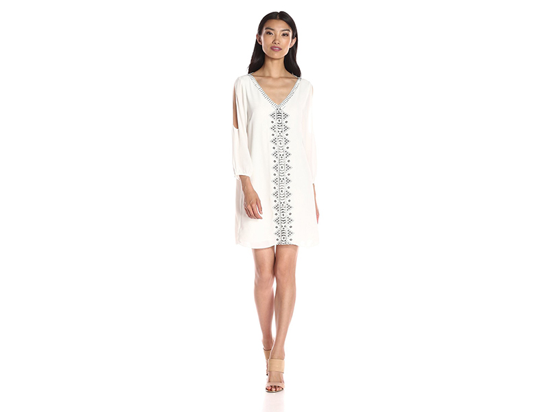 Greylin Vira Open Sleeve Beaded Shift Dress