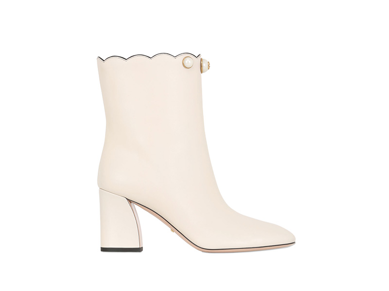 Gucci 75mm Willow Leather Pull-on Ankle Boots