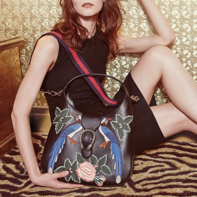 Gucci Dionysus Medium Embroidered-Birds Hobo Bag -
