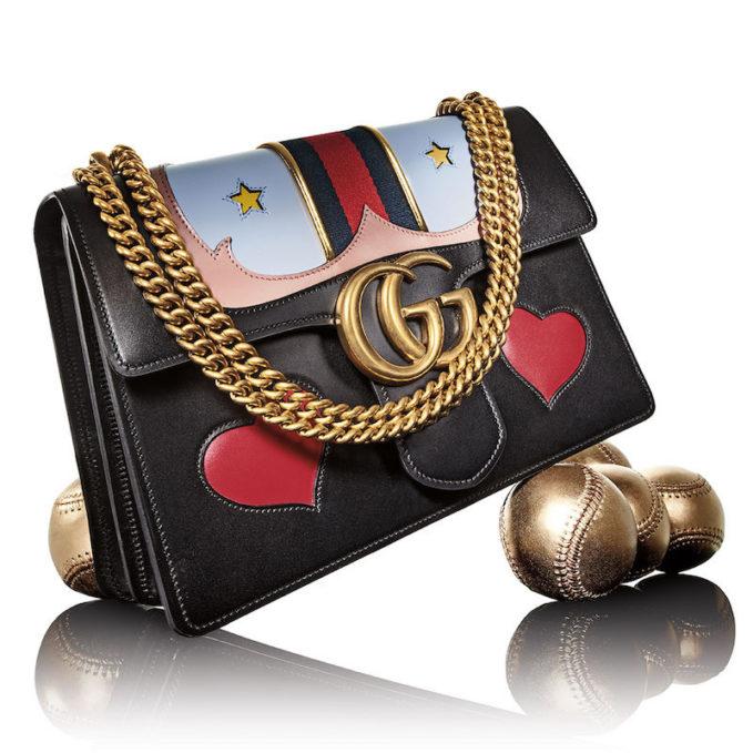 Gucci GG Marmont Medium Web Heart Shoulder Bag