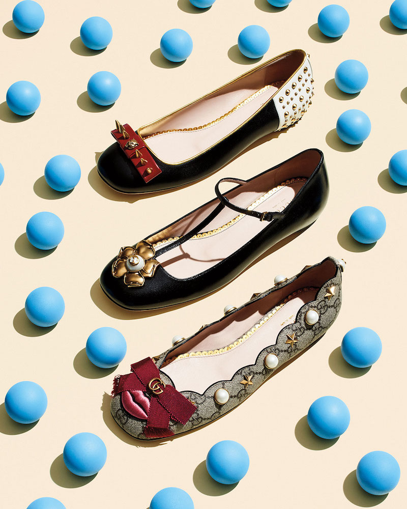 Gucci Lexi Pearly GG Ballerina Flat