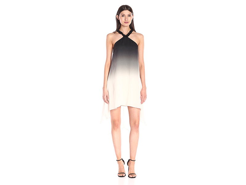 HALSTON HERITAGE Sleeveless Halter Neck Ombre Printed Dress with 3D Palette E
