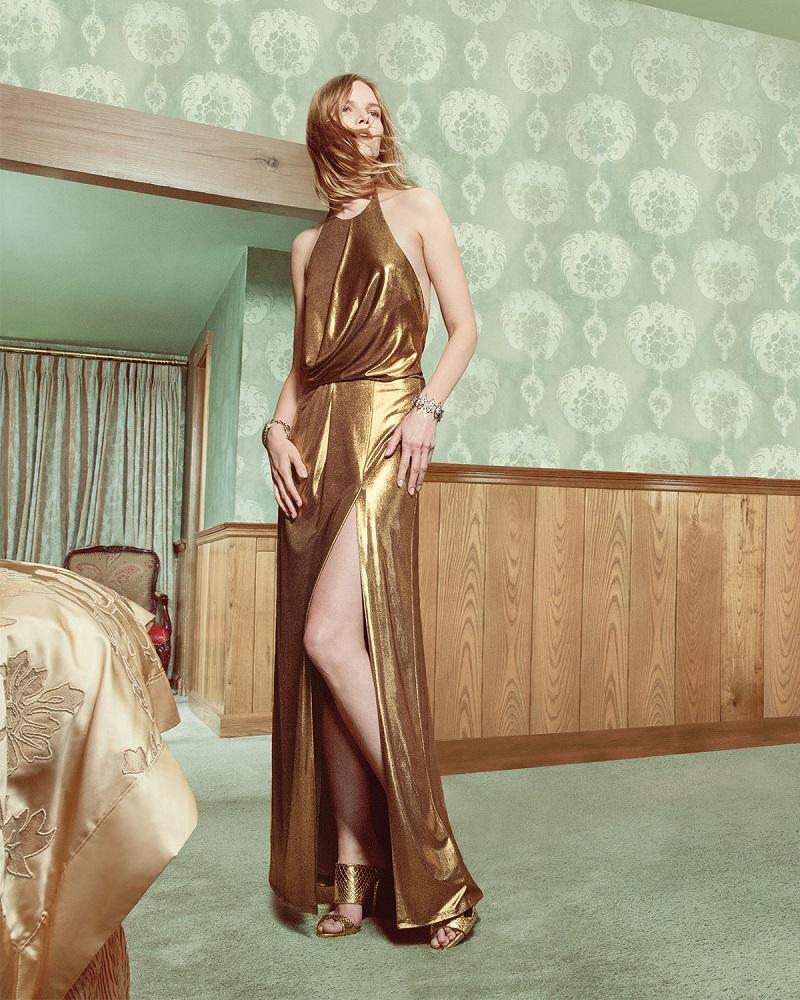 Halston Heritage Metallic Halter Column Gown
