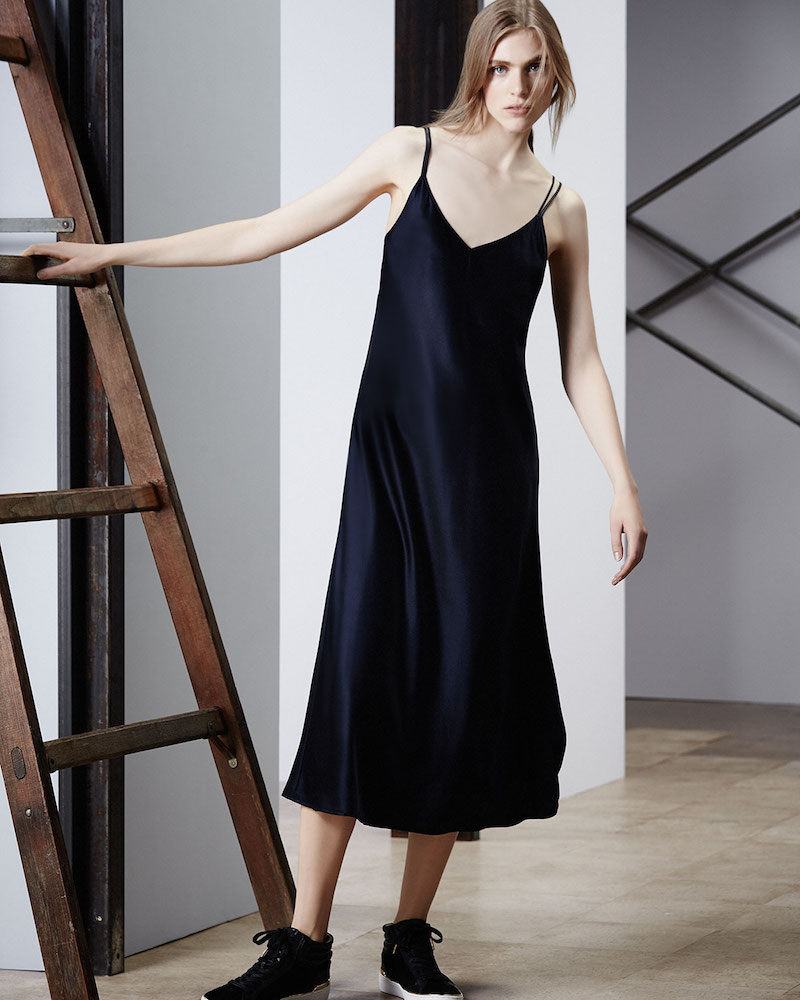 Helmut Lang Draped-Back Silk Satin Midi Dress