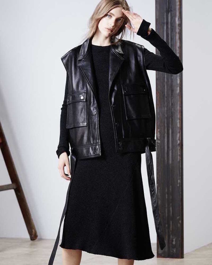 Helmut Lang Oversized Leather Snap-Front Vest