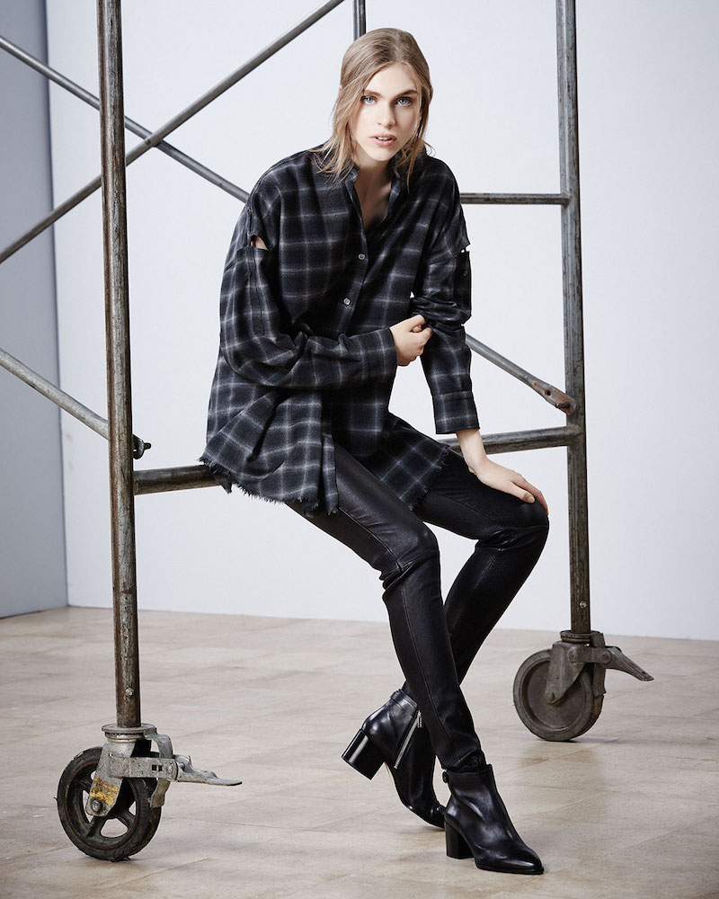 Helmut Lang Tabbed-Sleeve Plaid Open-Back Shirt