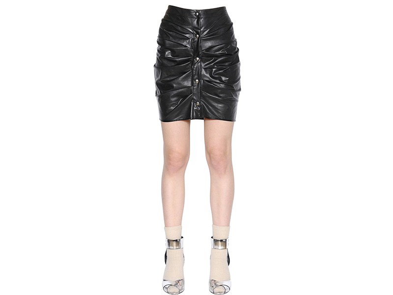 Isabel Marant Étoile Draped Faux Leather Mini Skirt
