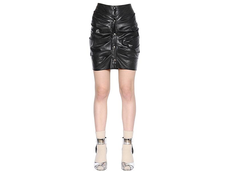 Isabel Marant Étoile Draped Faux Leather Mini Skirt