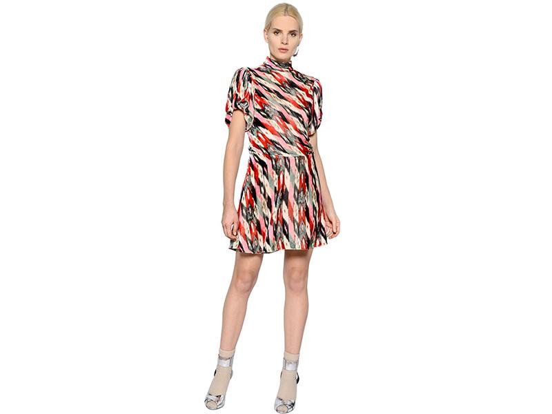 Isabel Marant Étoile Puff Sleeves Printed Velvet Dress