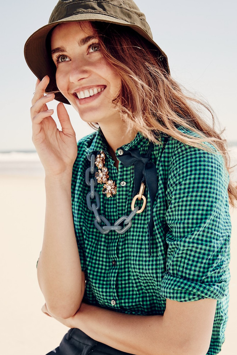 J.Crew Gathered Popover in Two-tone Gingham