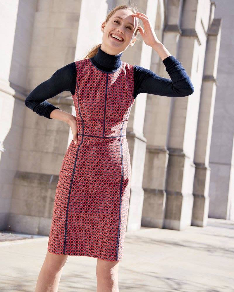 J.Crew Sheath Dress in Crimson Foulard