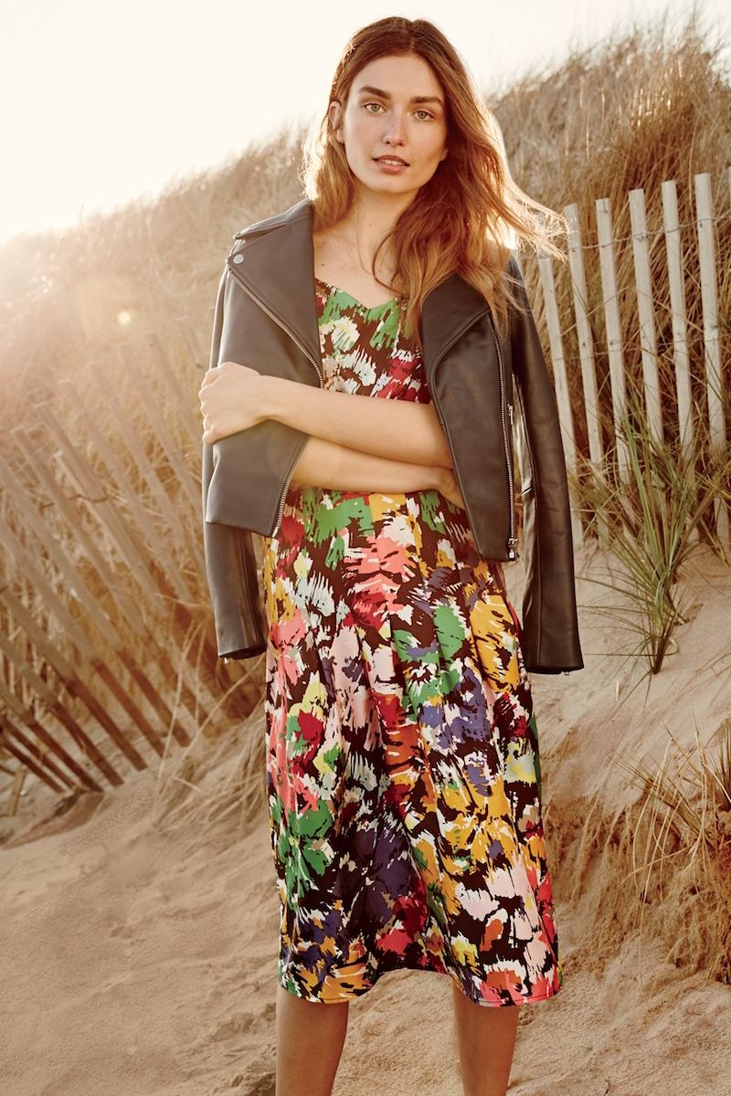 J.Crew Spaghetti-strap Dress in Colorful Brushstroke Print