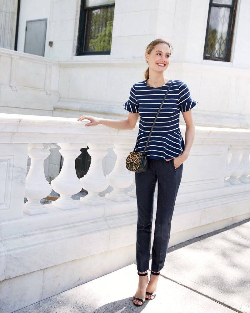 J.Crew Structured Peplum Top in stripe