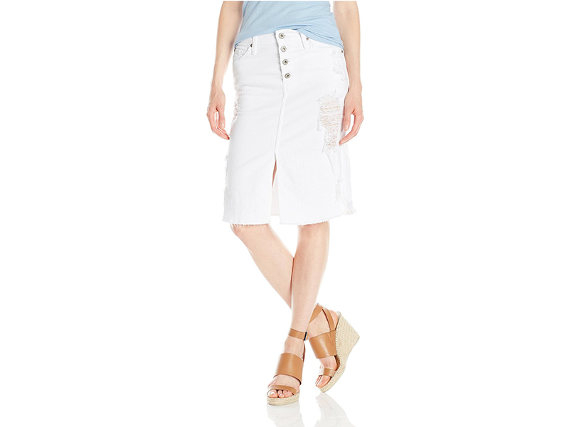 James Jeans Lana Knee Length Raw Hem Skirt