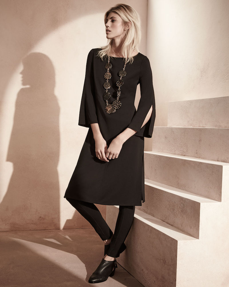 Joan Vass 3/4-Sleeve Ponte Tunic/Dress
