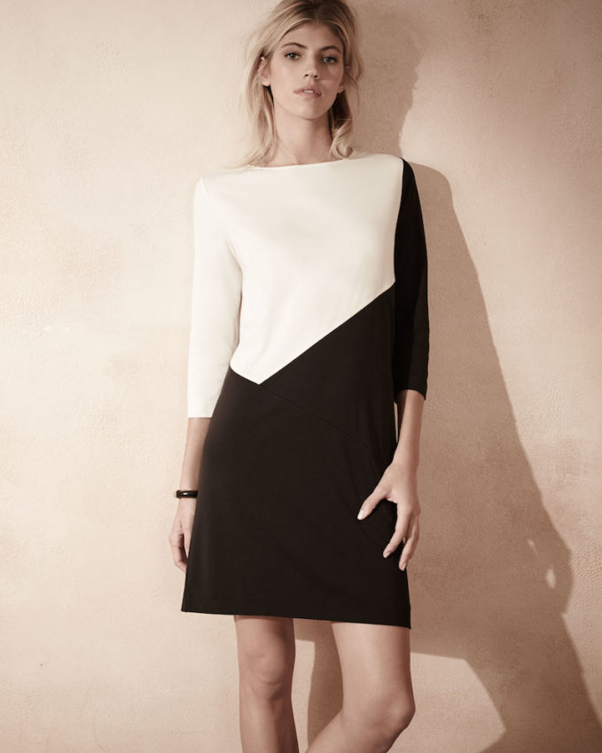 Joan Vass Seamed Colorblock Ponte Dress
