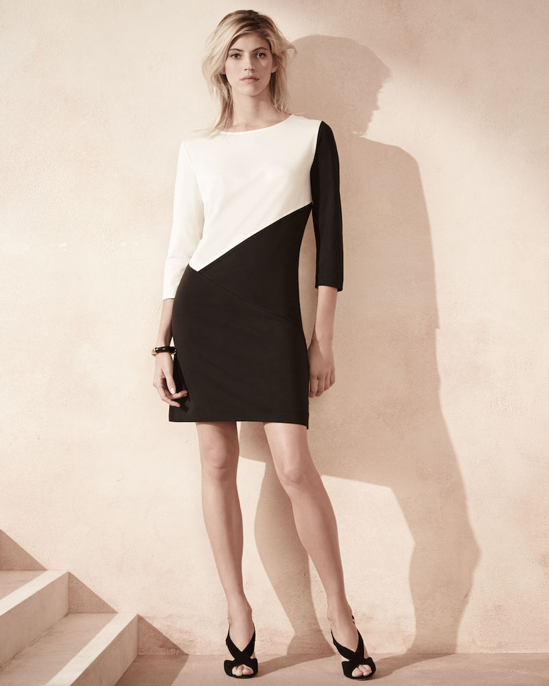 Joan Vass Seamed Colorblock Ponte Dress_1