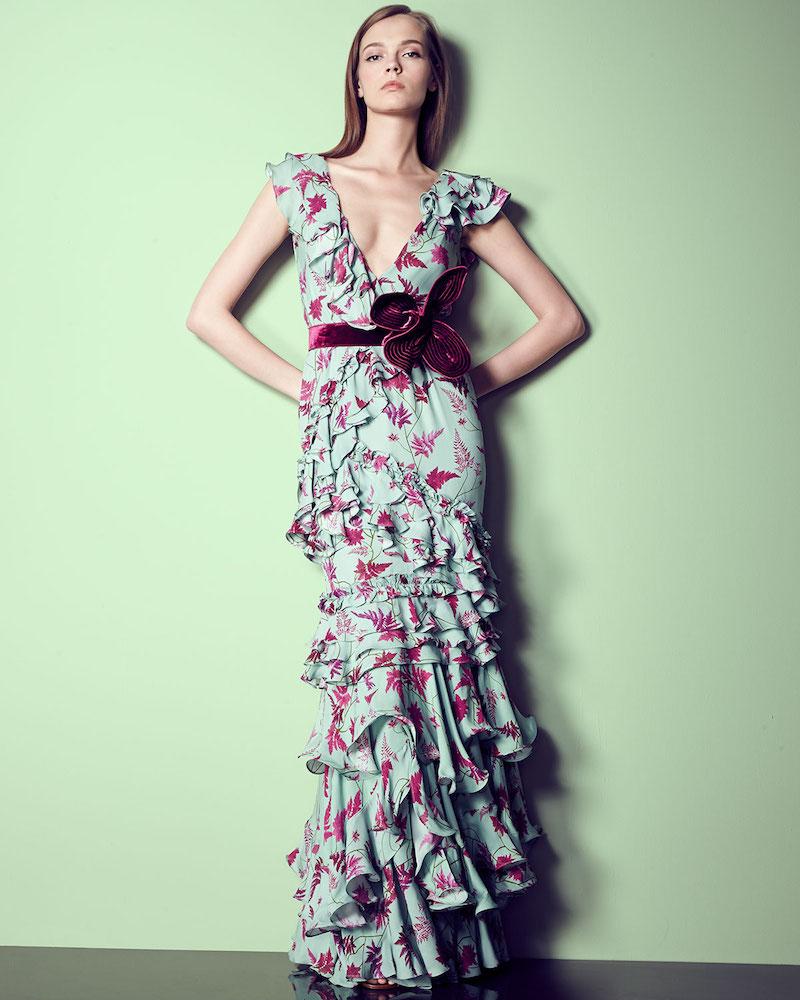 Johanna Ortiz Queen Elizabeth Floral Tiered Gown
