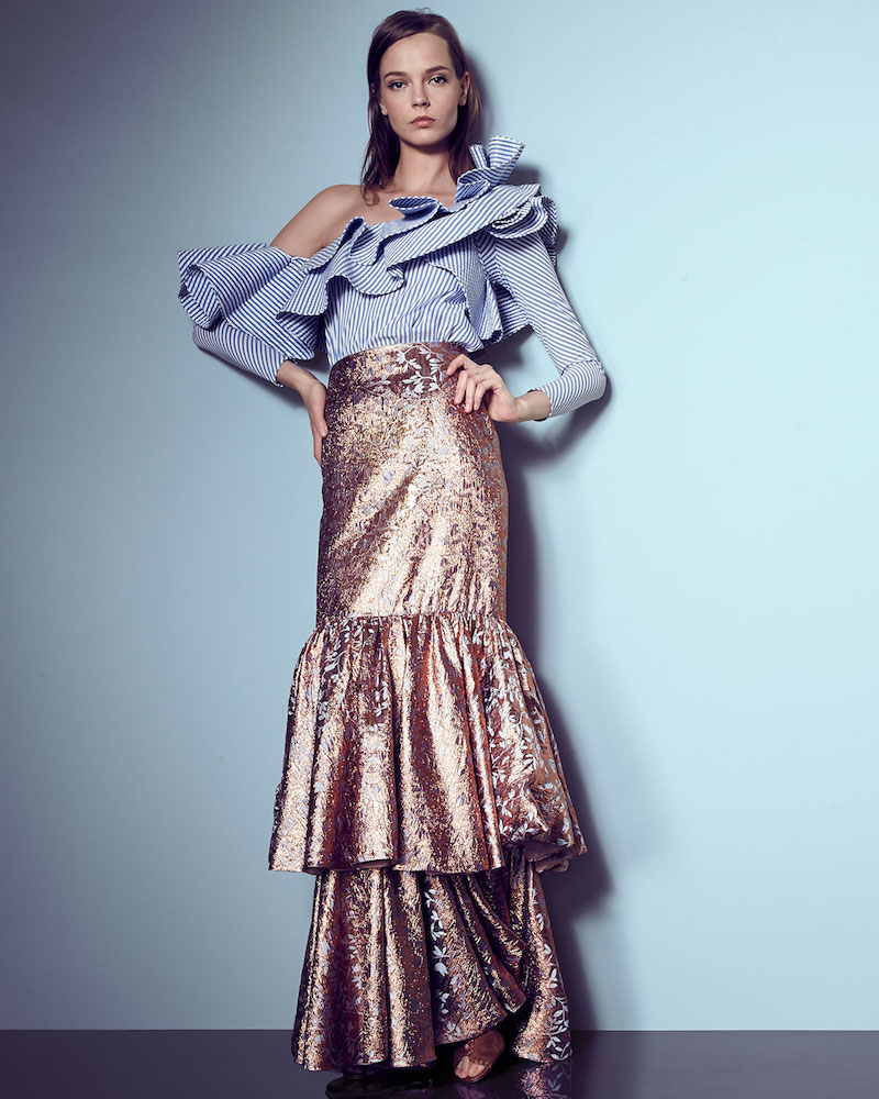 Johanna Ortiz d'Artagnan Tiered Jacquard Maxi Skirt
