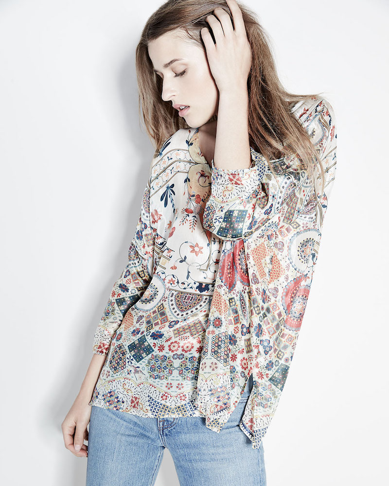 Johnny Was Collection Emmy 3/4-Sleeve Printed Silk Boxy Top