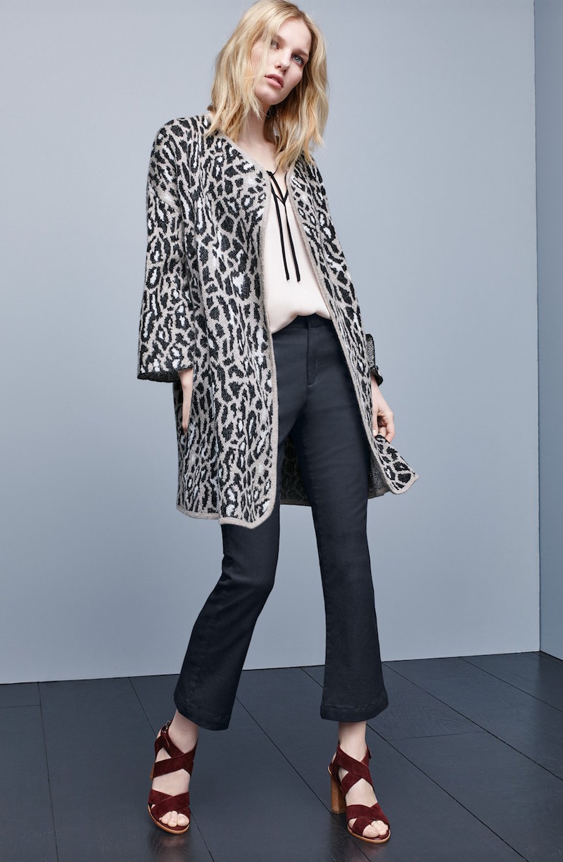 Joie Berit Print Open Front Wool Blend Cardigan