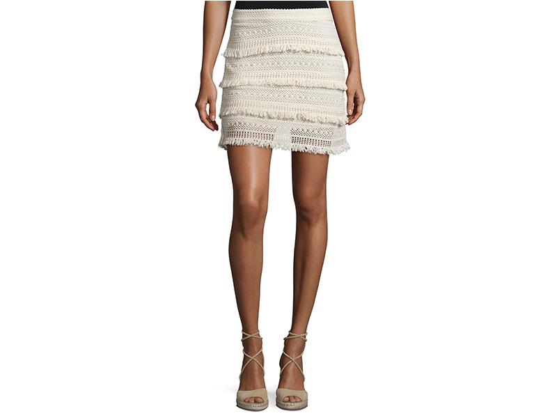 Joie Serena Fringed Crochet Skirt