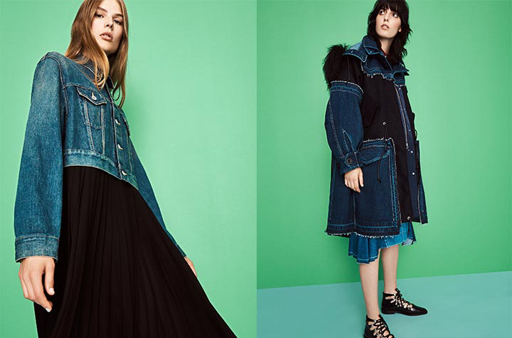 Junya Watanabe Faded Denim and Chiffon Dress