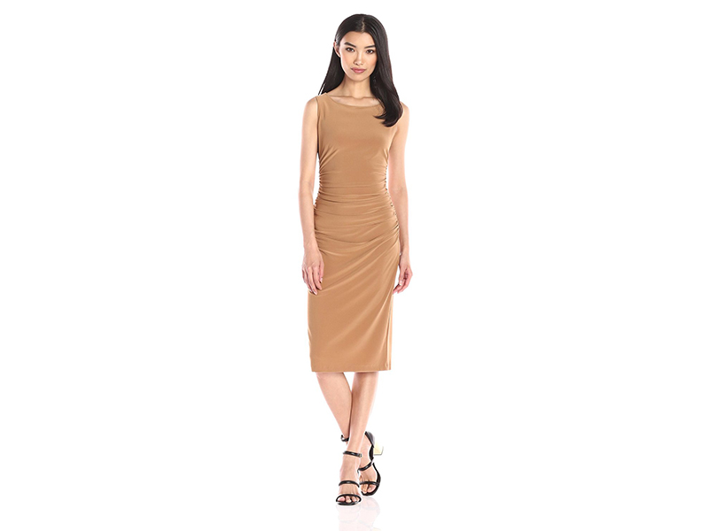 KAMALIKULTURE Sleeveless Shirred Dress Below Knee