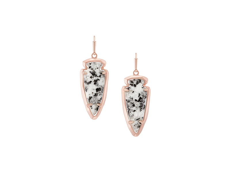 Kendra Scott Katelyn Dangle Drop Earrings in Rose Gold & Gray Granite