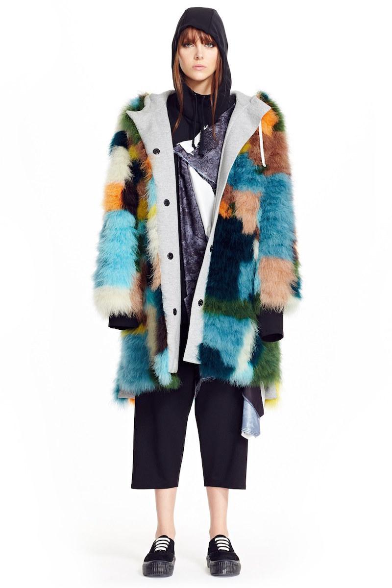 Koché Lace Print Hooded Blouse