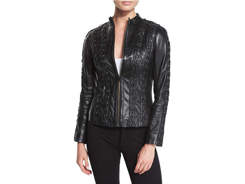 LaMarque Arda Cross-Stitched Leather Jacket_1