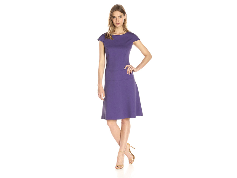 Lark & Ro Cap-Sleeve Fit-and-Flare Dress