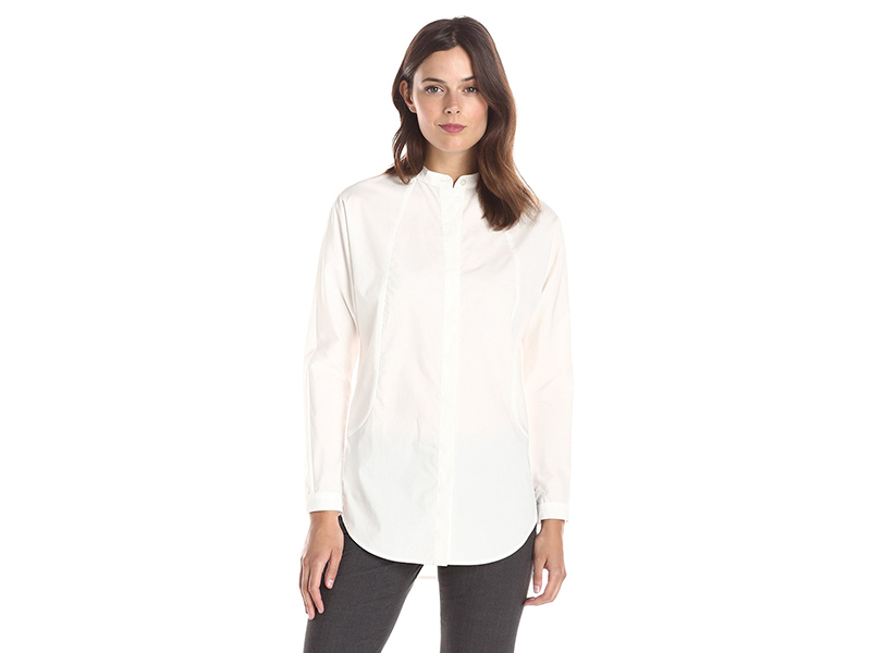 Lark & Ro Long Sleeve Mandarin-Collar Poplin Tunic Top