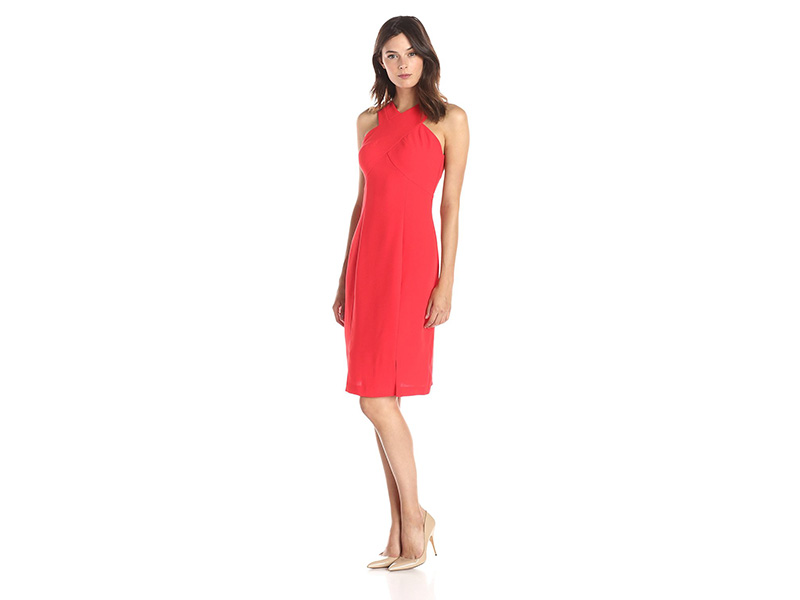Lark & Ro Sleeveless Crossed Front Sheath Dress