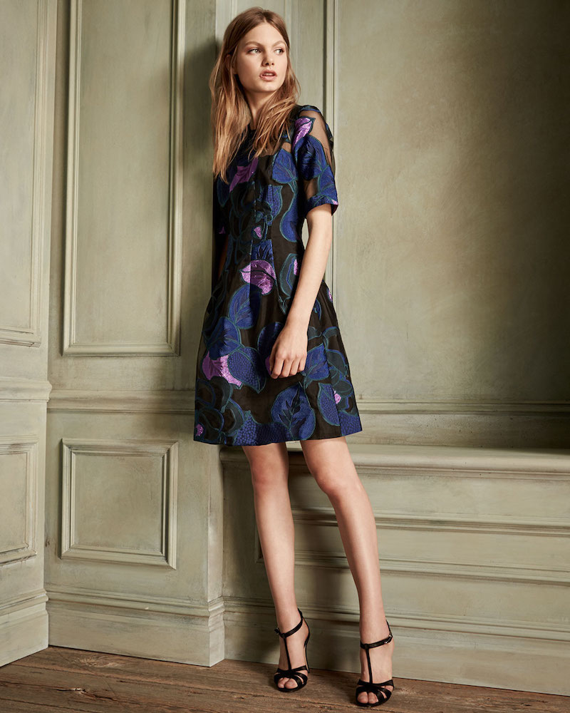 Lela Rose Holly Leaf Half-Sleeve Dress_1