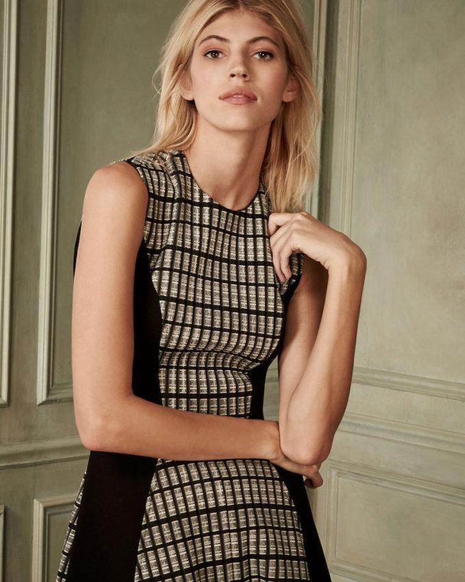 Lela Rose Linear Organza Sleeveless Dress_1
