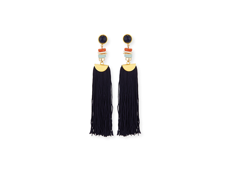 Lizzie Fortunato Indigo Tassel Drop Earrings