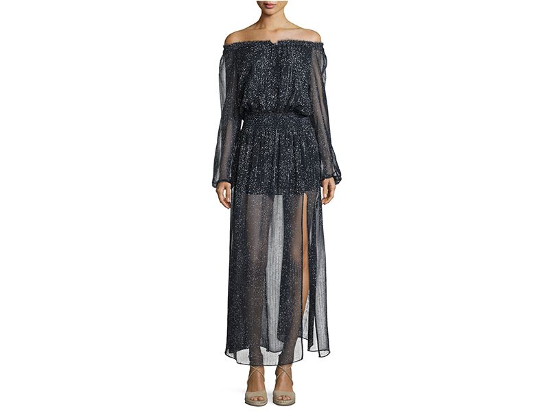 LoveShackFancy Constellation Off-The-Shoulder Lurex Chiffon Maxi Dress_1