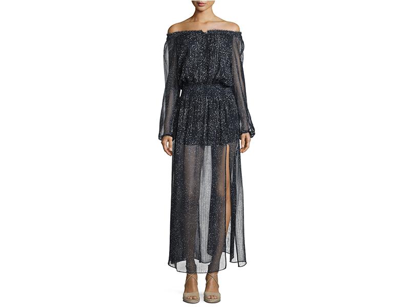 LoveShackFancy Constellation Off-The-Shoulder Lurex Chiffon Maxi Dress_1