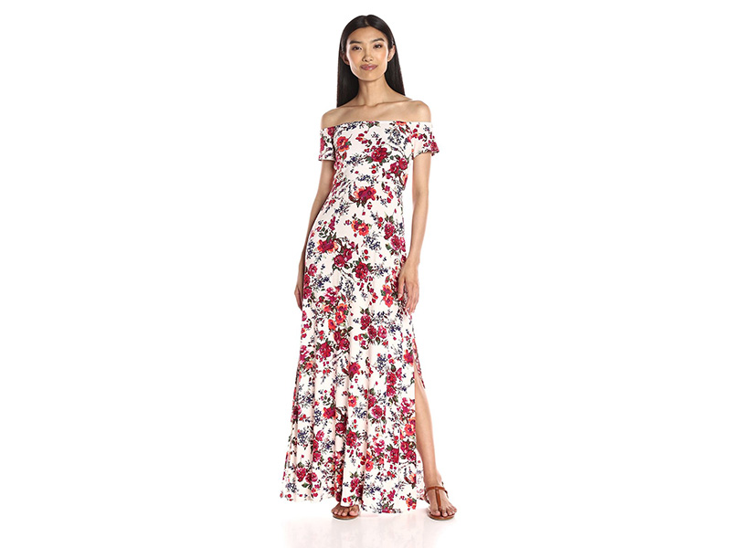 Loveappella Floral Print Off Shoulder Maxi Dress