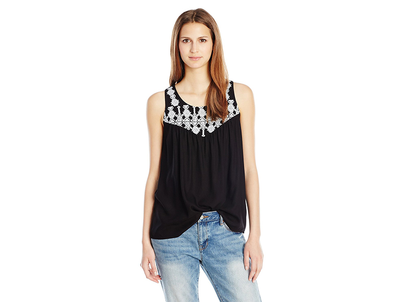 Lucky Brand Geo Embroidery Bib Top