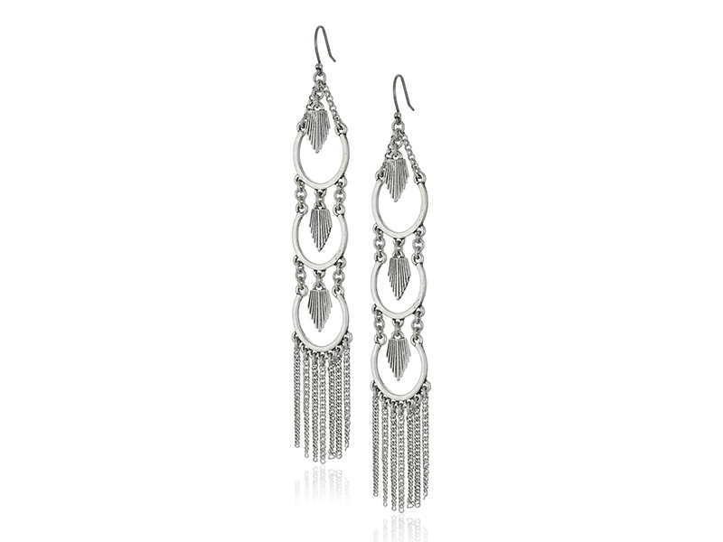 Lucky Brand Silver Sun Burst Linear Drop Earrings