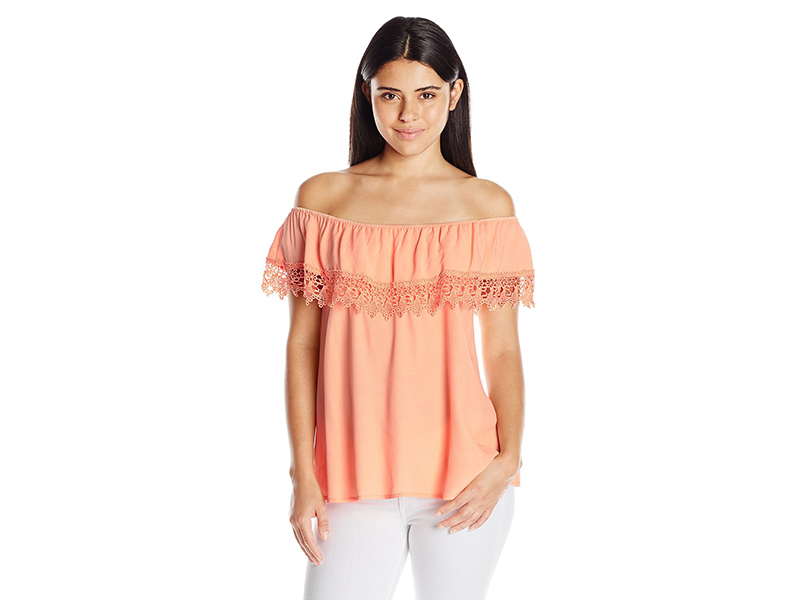 Lucy Love Whisper In My Ear Lace Off Shoulder Top